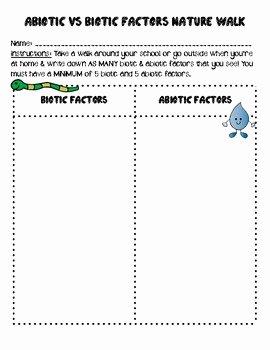 Abiotic and Biotic Factors Worksheet Unique Abiotic Vs Biotic Factors Nature Walk by Smith Science and