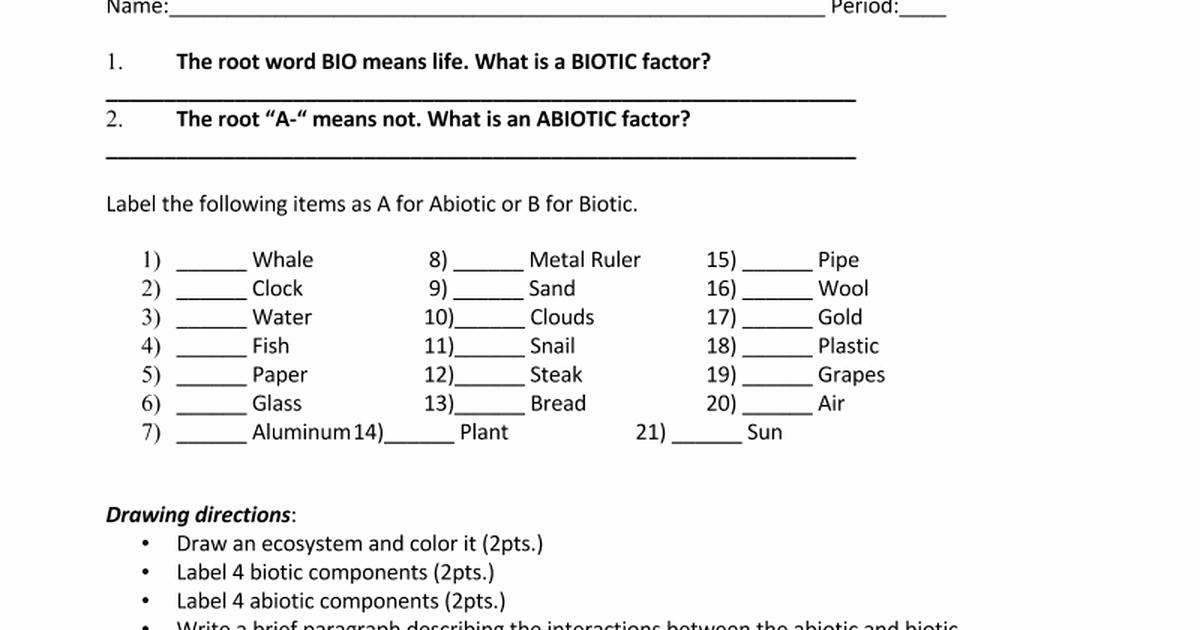 Abiotic and Biotic Factors Worksheet Unique Abiotic Vs Biotic Factors Worksheetc Google Docs