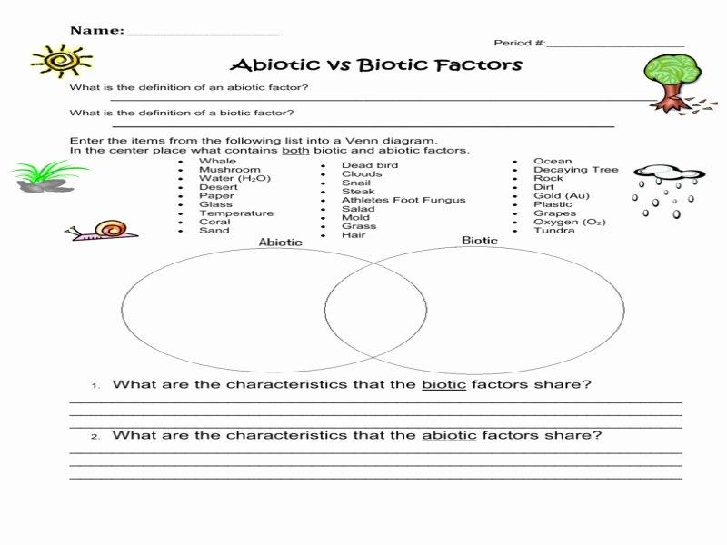 Abiotic and Biotic Factors Worksheet Unique Worksheet 1 Abiotic Versus Biotic Factors Free