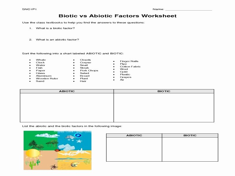 Abiotic Vs.biotic Factors Worksheet Answers Inspirational Biotic and Abiotic Factors Worksheet Free Printable