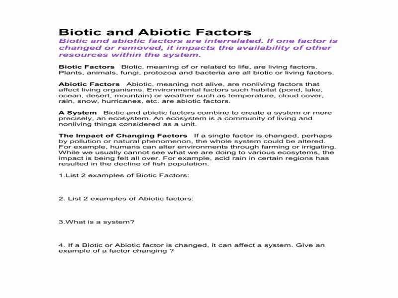 Abiotic Vs.biotic Factors Worksheet Answers Unique Biotic and Abiotic Factors Worksheet Free Printable