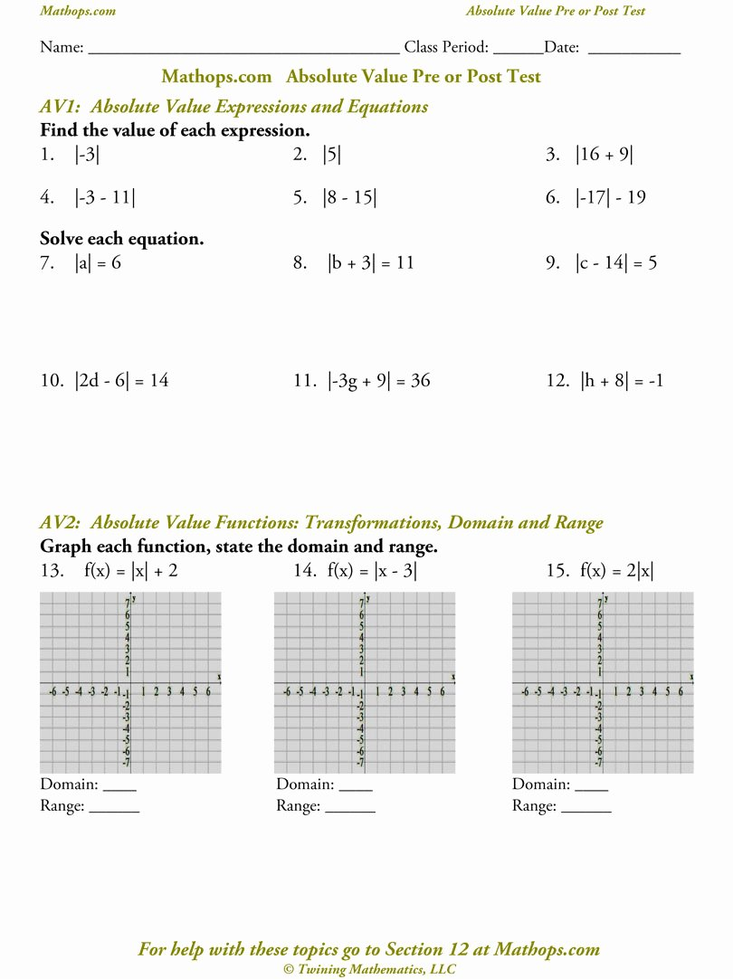 Absolute Value Equations Worksheet Elegant Worksheet Absolute Value Functions