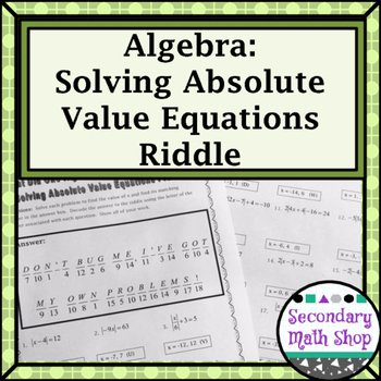 Absolute Value Equations Worksheet Fresh solving Absolute Value Equations Practice Riddle Worksheet