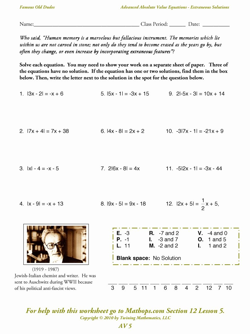 Absolute Value Equations Worksheet Luxury Av 5 Advanced Absolute Value Equations Extraneous