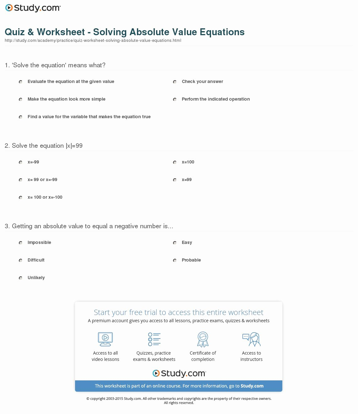 Absolute Value Function Worksheet Awesome Quiz & Worksheet solving Absolute Value Equations