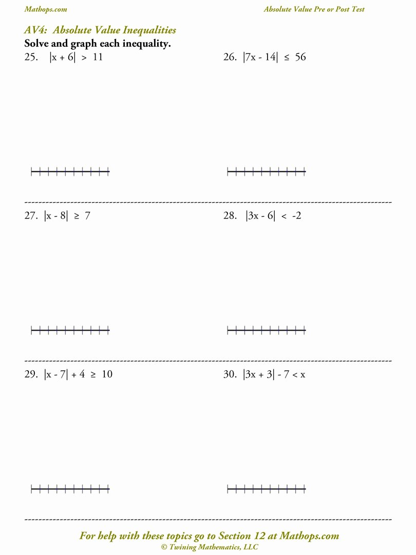 Absolute Value Function Worksheet Elegant Pre Post Test Absolute Value Expressions and Equations
