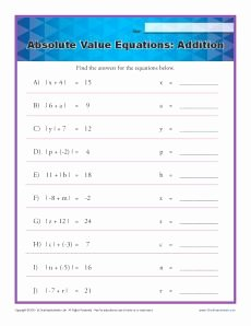 Absolute Value Function Worksheet Lovely Absolute Value Equations Addition