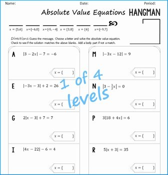 Absolute Value Function Worksheet New Absolute Value Equations Hangman by Algebra Simplified