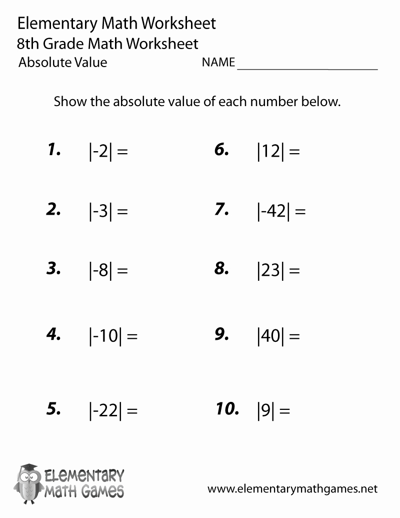 Absolute Value Function Worksheet New Eighth Grade Absolute Value Worksheet