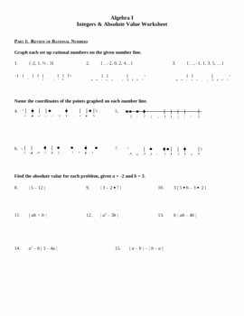 Absolute Value Function Worksheet Unique Algebra I Integers & Absolute Value Practice Worksheet by