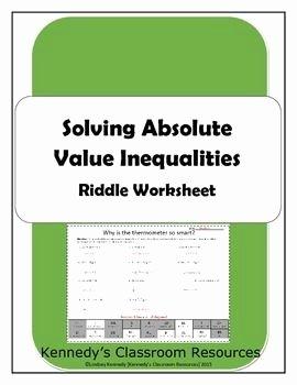 Absolute Value Inequalities Worksheet Answers Luxury solving Absolute Value Inequalities Riddle Worksheet