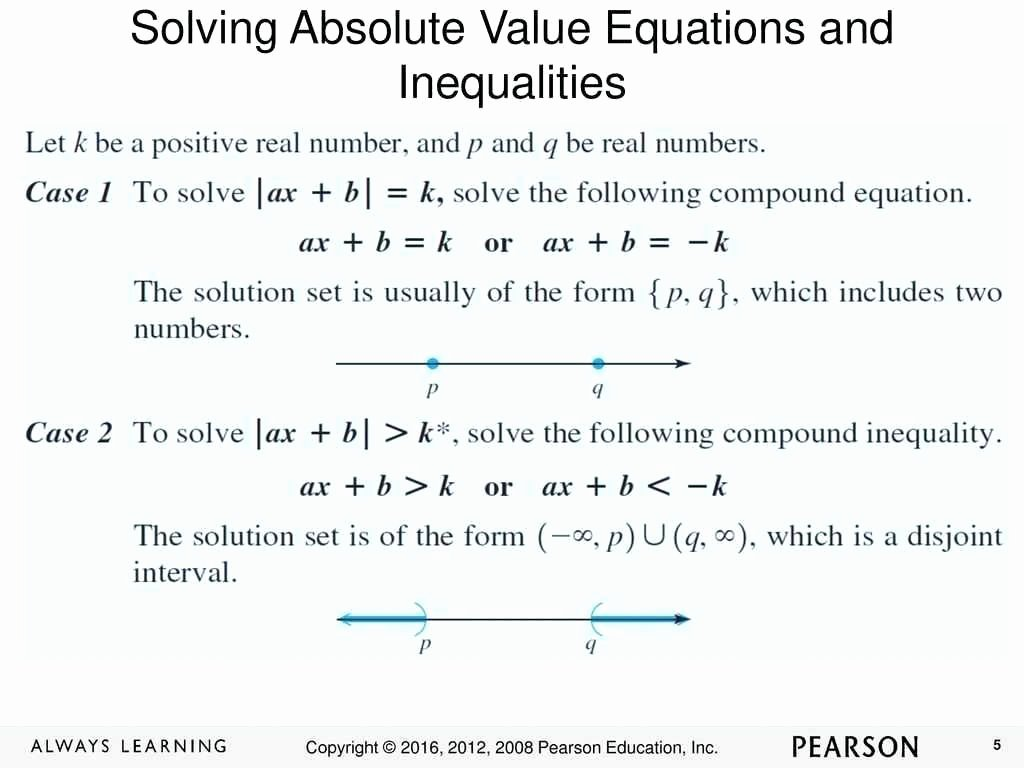 Absolute Value Inequalities Worksheet Answers New solving Absolute Value Equations Worksheet