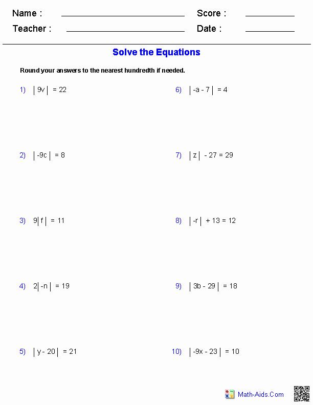 Absolute Value Inequalities Worksheet Fresh Algebra 2 Worksheets