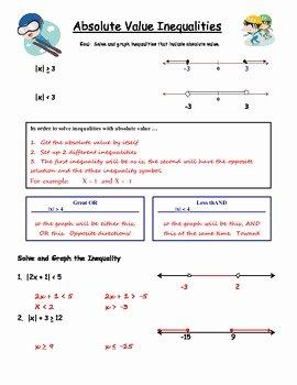 Absolute Value Inequalities Worksheet Fresh Algebra Guided Notes Absolute Value Inequalities by Dr