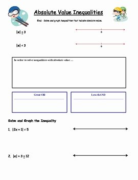 Absolute Value Inequalities Worksheet Lovely Algebra Guided Notes Absolute Value Inequalities by Dr
