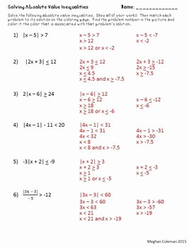 Absolute Value Inequalities Worksheet Lovely Zombie Color by Number solving Absolute Value