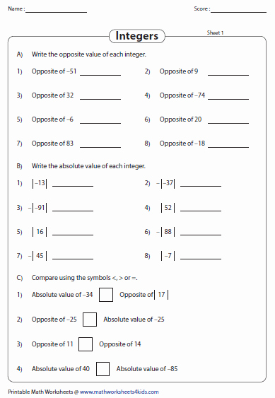 Absolute Value Worksheet Pdf Beautiful Integers Worksheets
