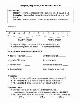 Absolute Value Worksheet Pdf Fresh Integers Opposites Absolute Values Situations