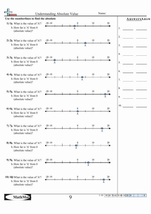Absolute Value Worksheet Pdf Lovely Understanding Absolute Value Worksheet with Answer Key
