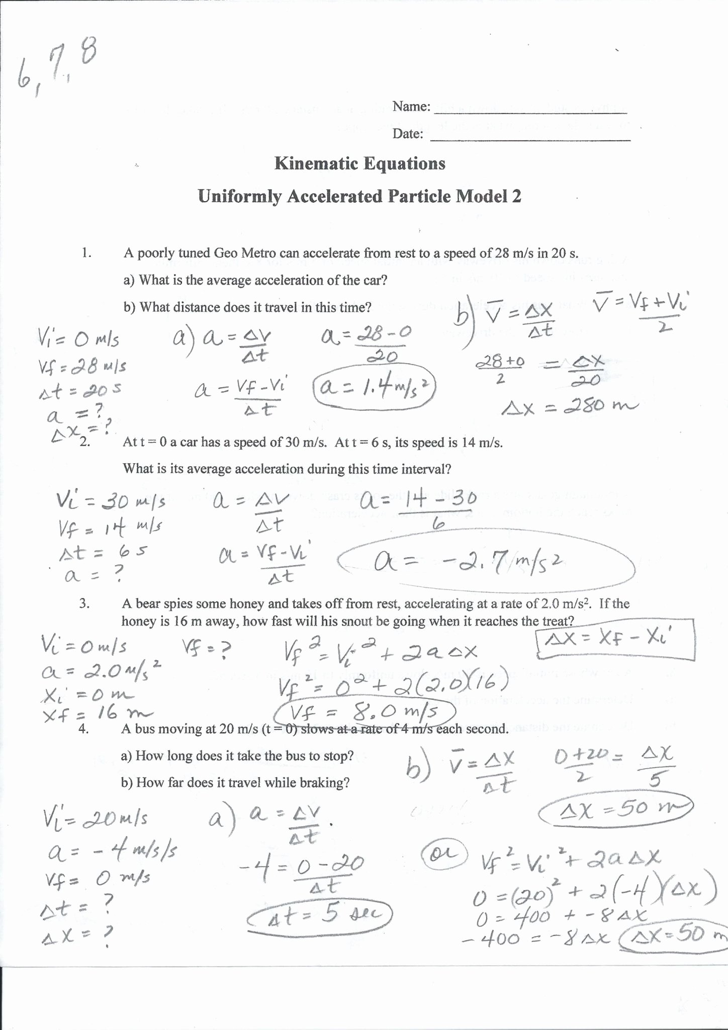 Acceleration Practice Problems Worksheet Awesome Speed Velocity and Acceleration Calculations Worksheet