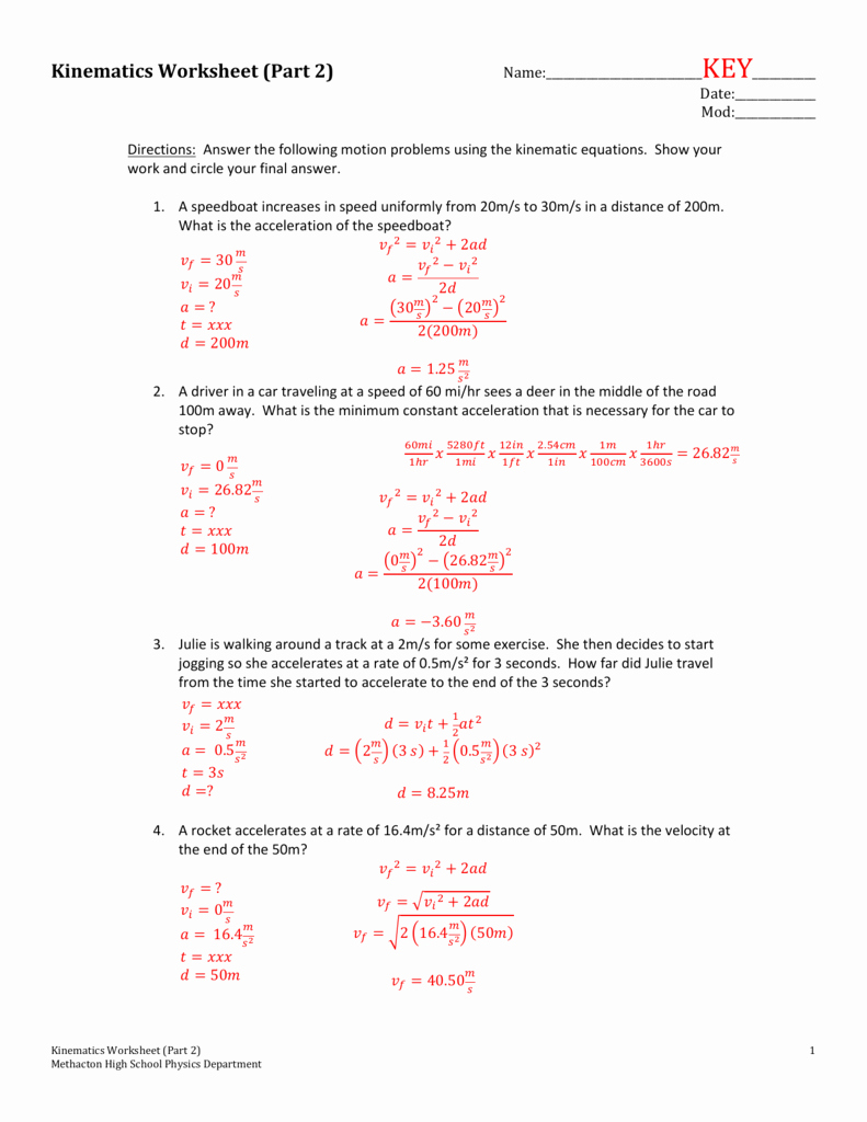 Acceleration Practice Problems Worksheet Inspirational Kinematics Worksheet Part 2