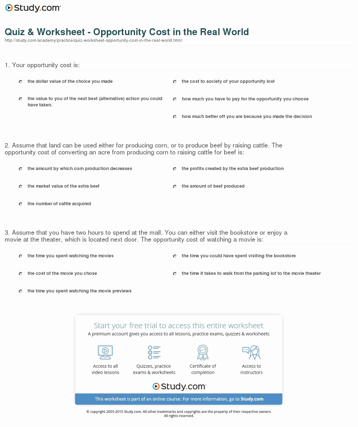 Acceleration Practice Problems Worksheet New Quiz & Worksheet Opportunity Cost In the Real World