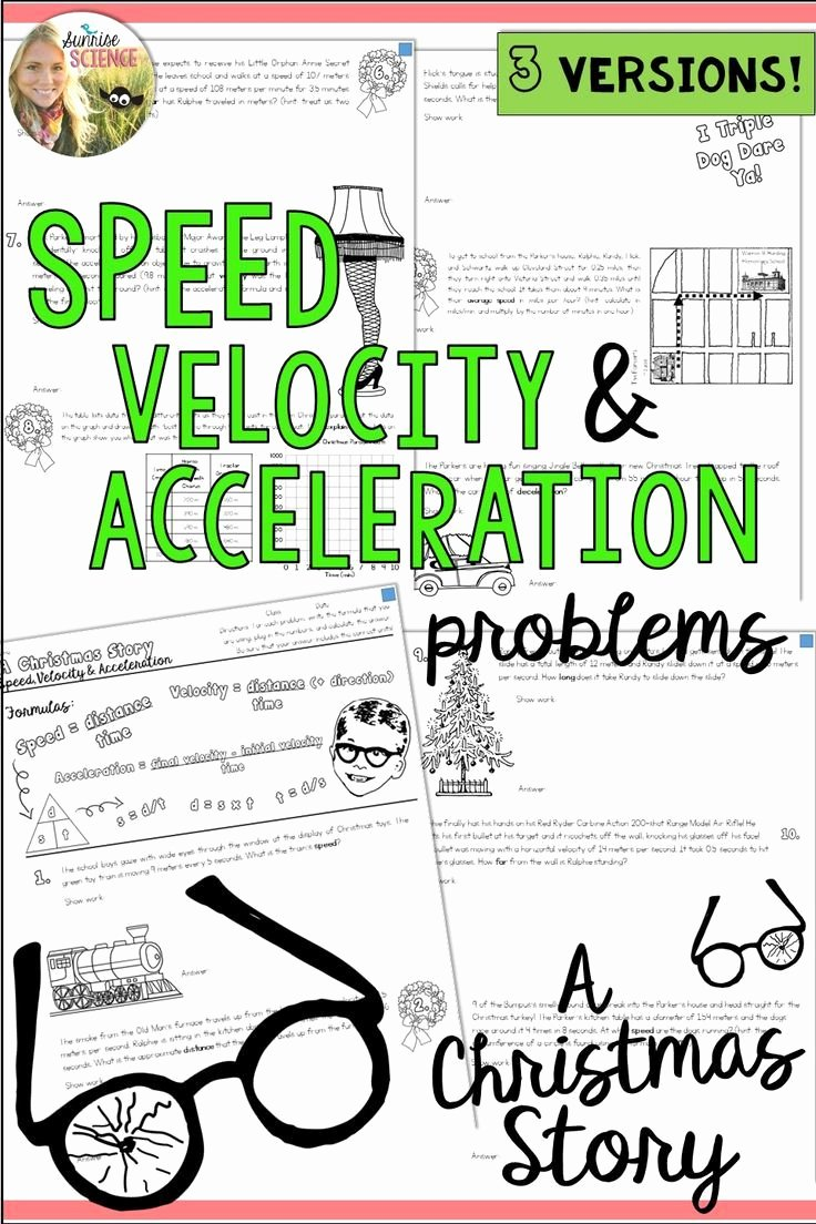 Acceleration Practice Problems Worksheet New Speed Velocity Acceleration Motion A Christmas Story