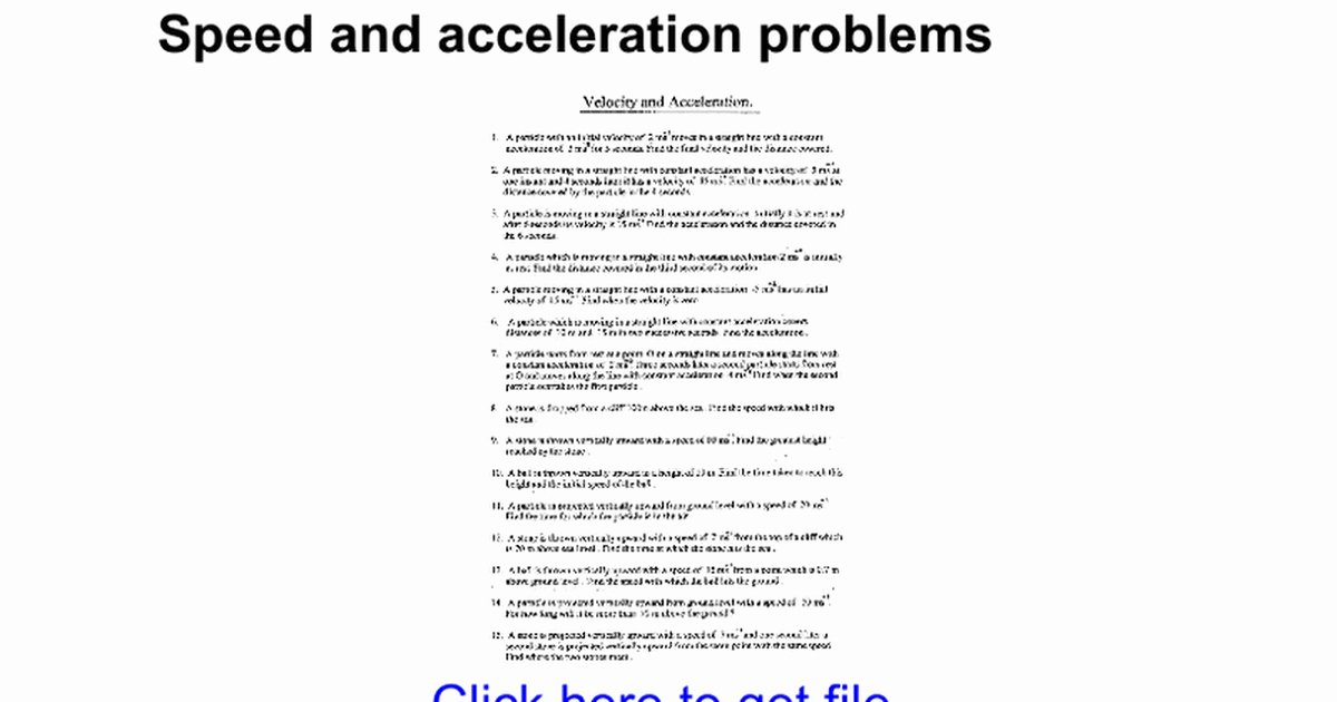 Acceleration Practice Problems Worksheet Unique Velocity and Acceleration Worksheet
