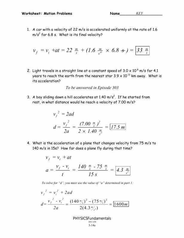 Acceleration Worksheet with Answers Beautiful Velocity and Acceleration Calculation Worksheet Answer Key