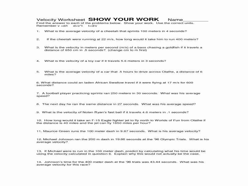Acceleration Worksheet with Answers Best Of Acceleration Worksheet