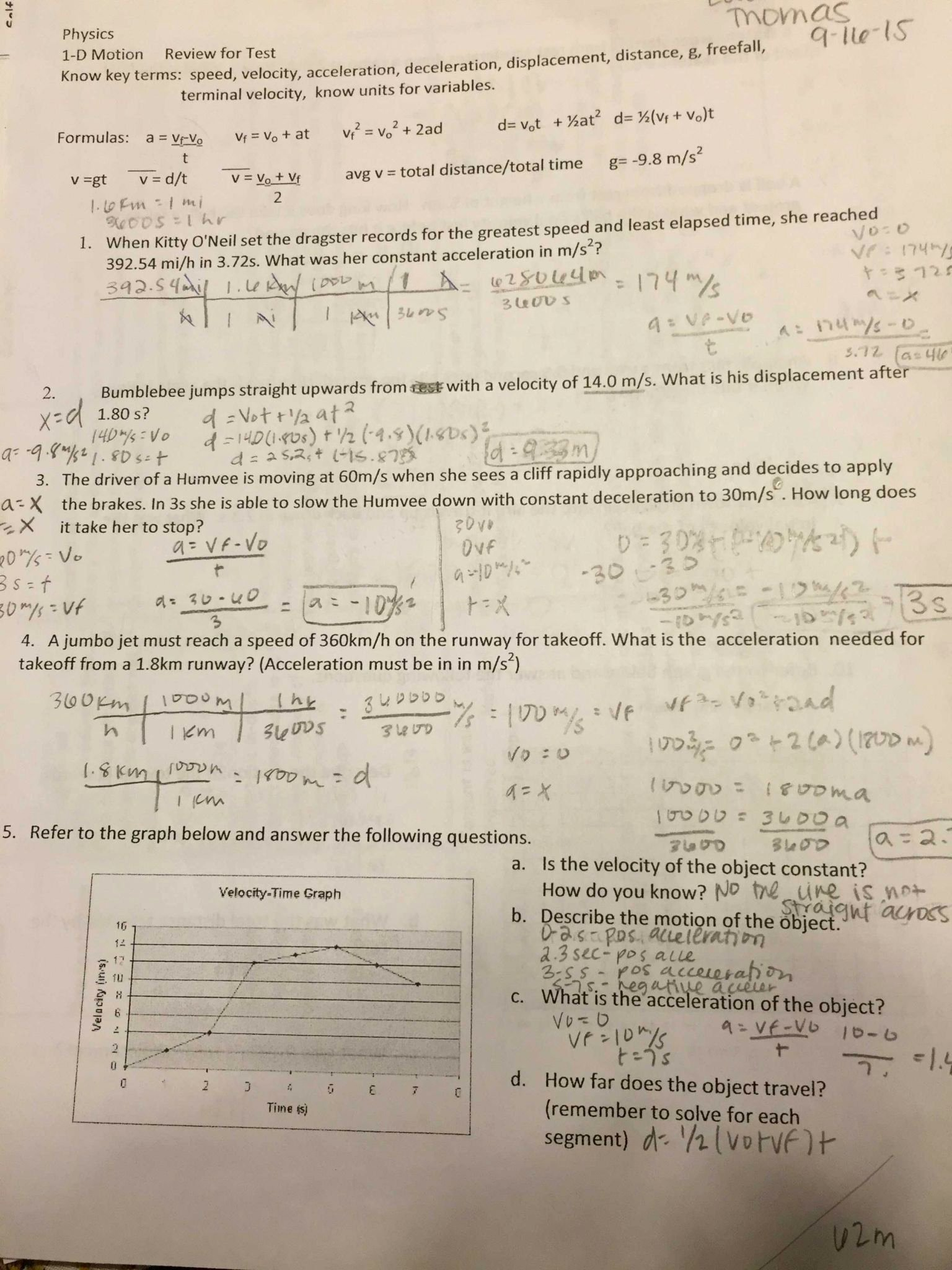 Acceleration Worksheet with Answers Best Of Displacement Velocity and Acceleration Worksheet Answers