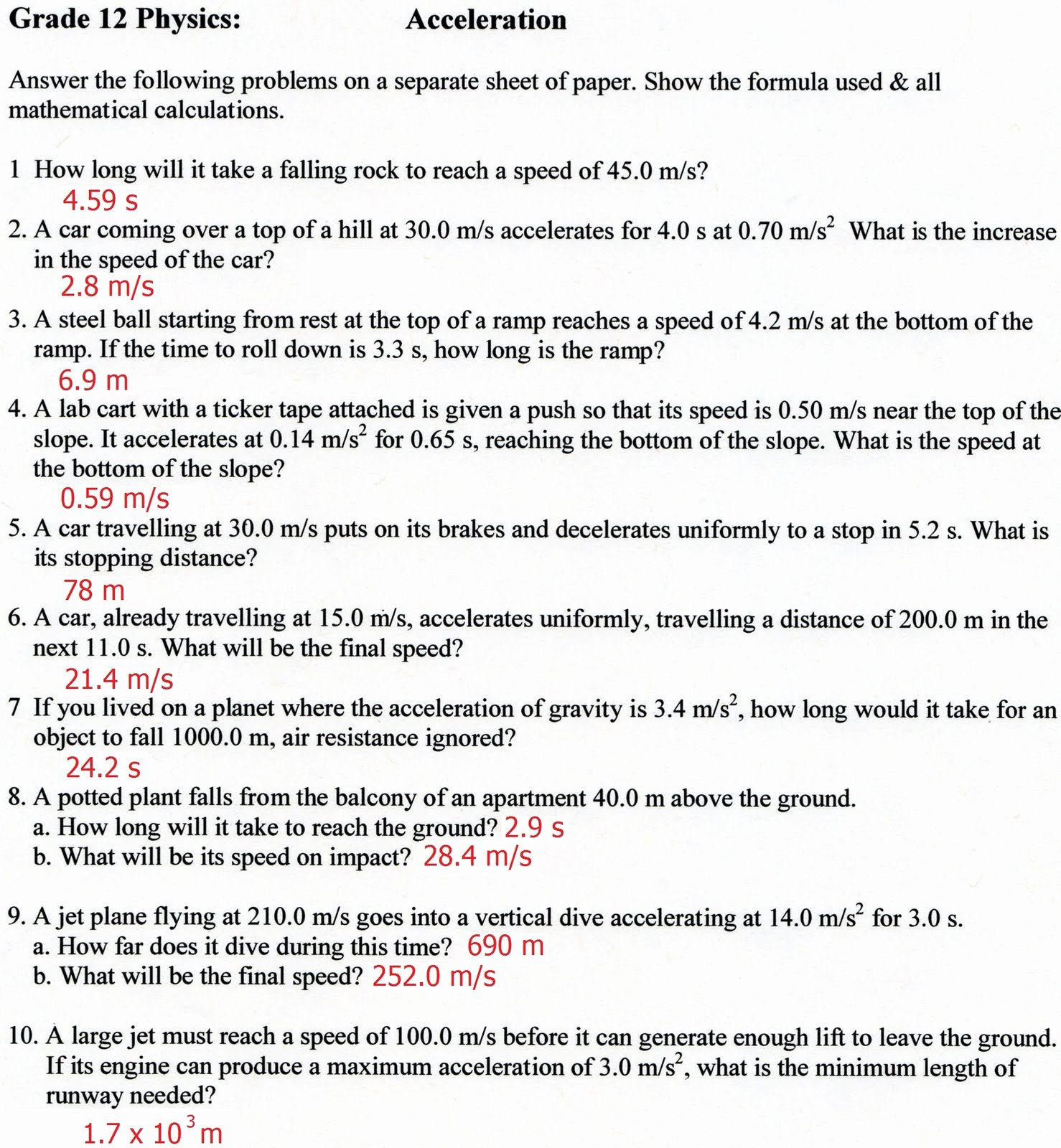 Acceleration Worksheet with Answers Fresh Physics12fall2010 September 2010