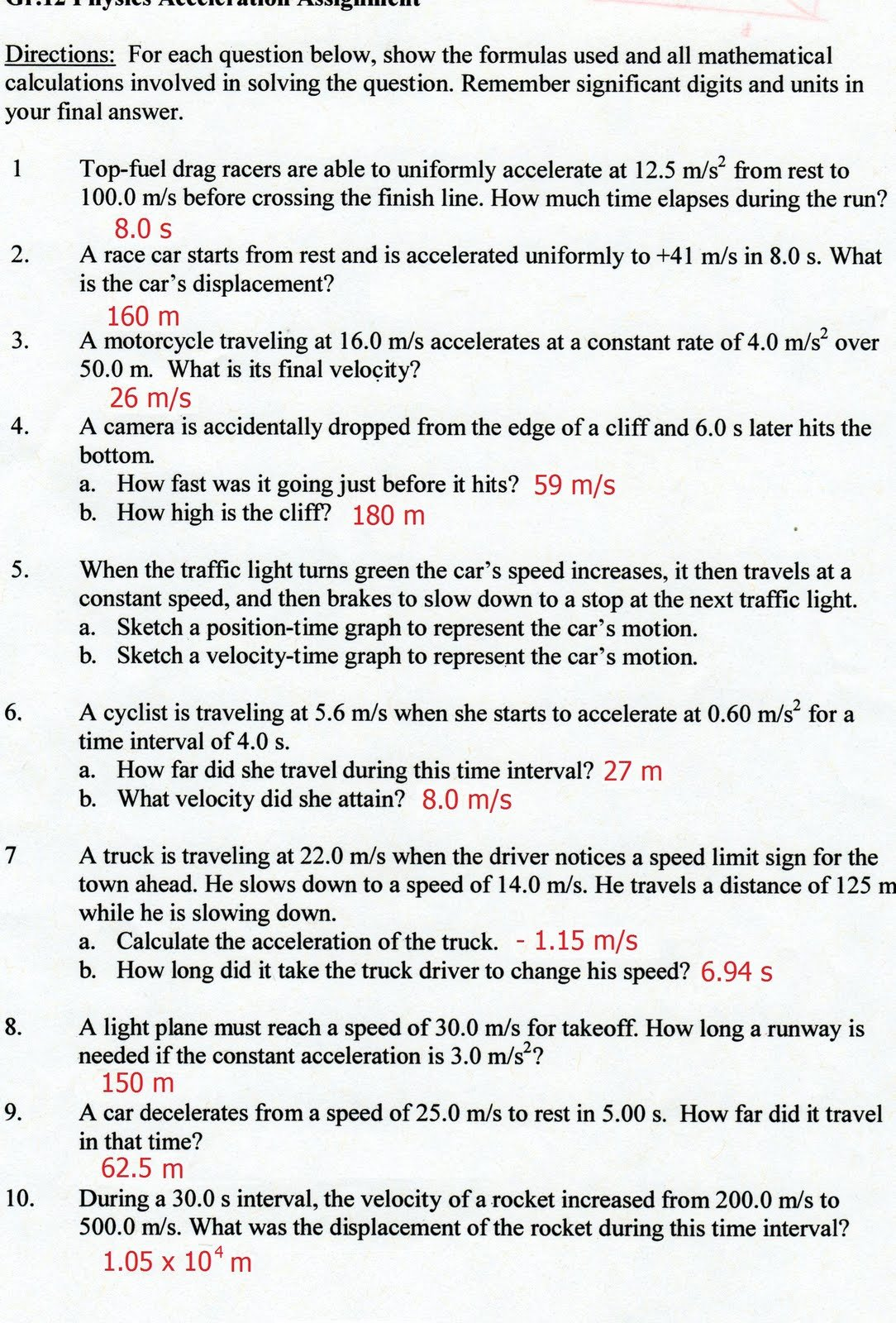 Acceleration Worksheet with Answers Lovely Physics12fall2010