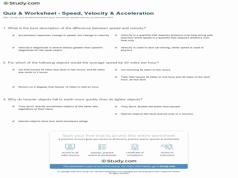 Acceleration Worksheet with Answers Lovely Speed Velocity and Acceleration Worksheet Answers Free