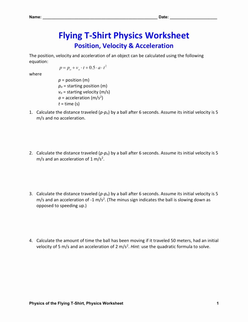 Acceleration Worksheet with Answers Luxury Velocity and Acceleration Worksheet Answer Key
