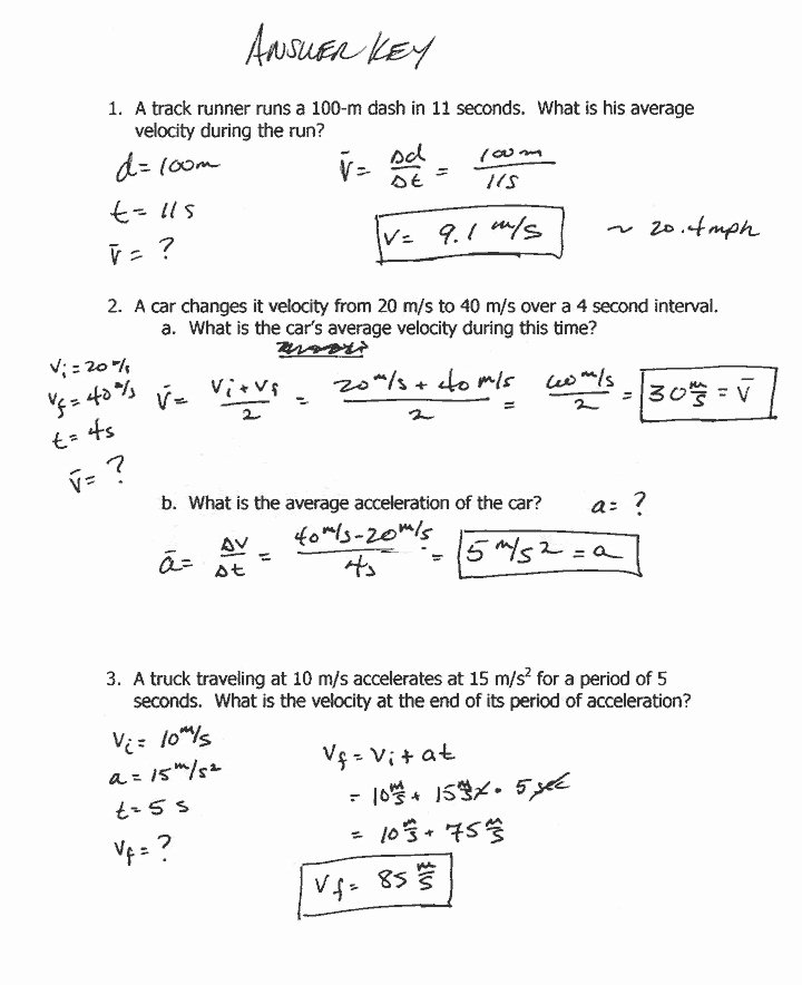 Acceleration Worksheet with Answers Unique Velocity and Acceleration Worksheet