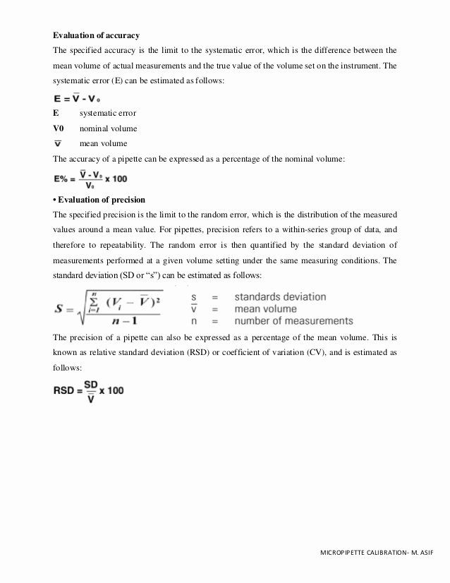 Accuracy and Precision Worksheet Answers Beautiful Pipette Calibration Worksheet & Guidelines M asif