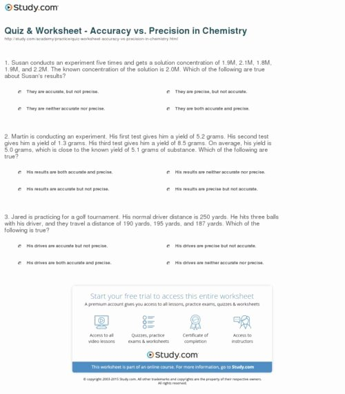 Accuracy and Precision Worksheet Answers Fresh Accuracy and Precision Worksheet Funresearcher