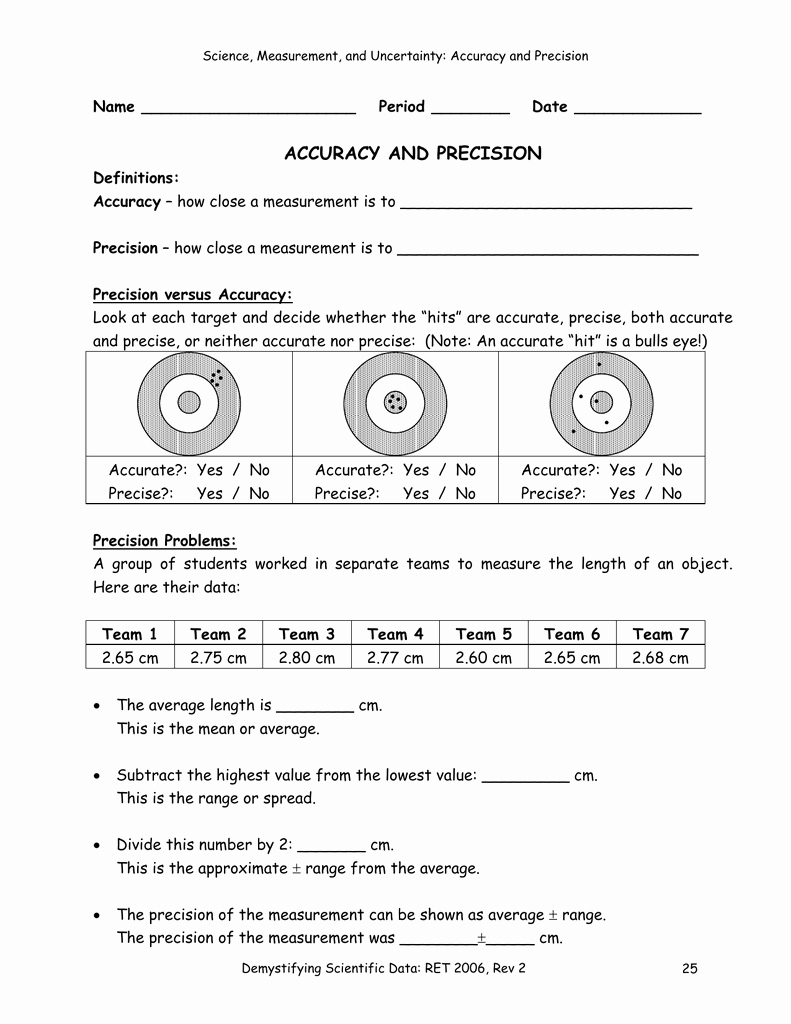 Accuracy and Precision Worksheet Answers Inspirational Accuracy and Precision Worksheet