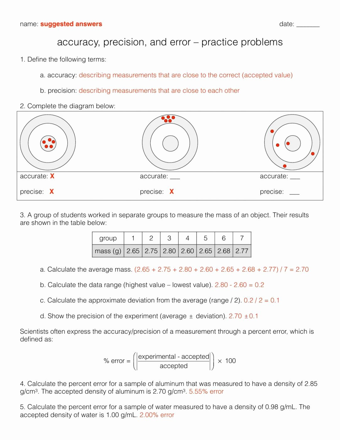 Accuracy and Precision Worksheet Answers Inspirational Preschool Worksheets Accuracy and Precision Worksheet