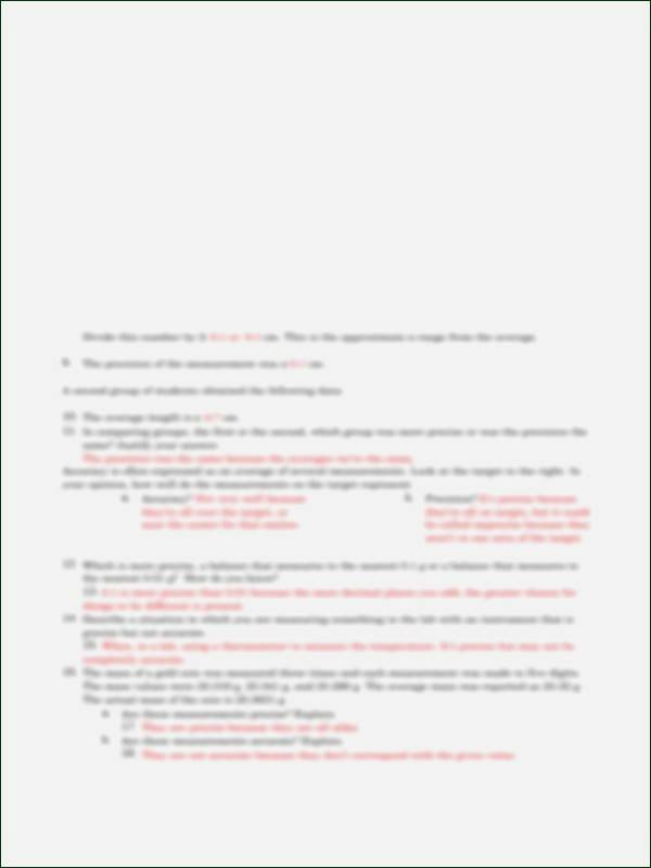 Accuracy and Precision Worksheet Answers Lovely Accuracy and Precision Worksheet