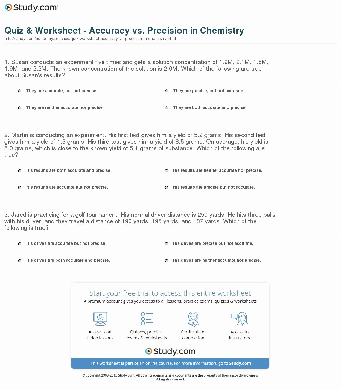 Accuracy and Precision Worksheet Answers Lovely Quiz & Worksheet Accuracy Vs Precision In Chemistry