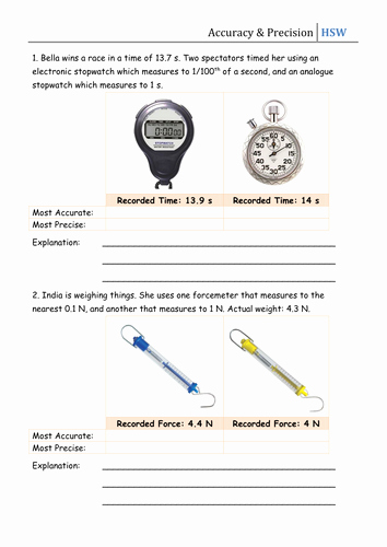 Accuracy and Precision Worksheet Answers Unique How Science Works Accuracy & Precision by Csnewin