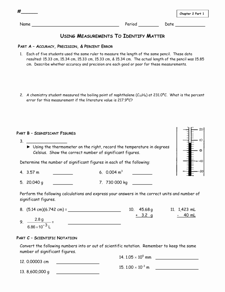 Accuracy and Precision Worksheet Awesome Using Measurements Worksheet