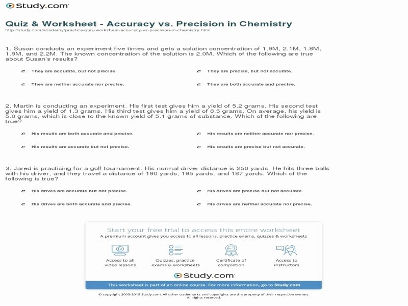 Accuracy and Precision Worksheet Elegant Accuracy and Precision Worksheet Answers Free Printable