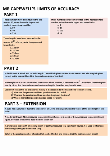 Accuracy Vs Precision Worksheet Luxury Limits Of Accuracy Powerpoint & Worksheet by Ccapewell1