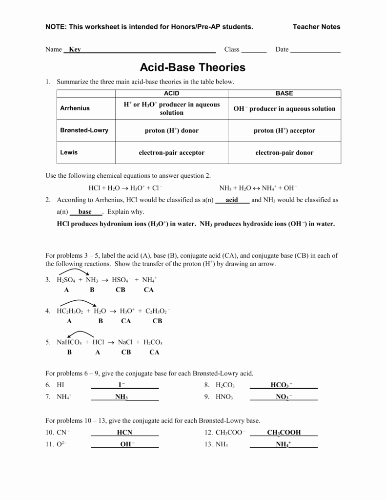 Acid and Base Worksheet Answers Fresh Worksheet Acid Base theories