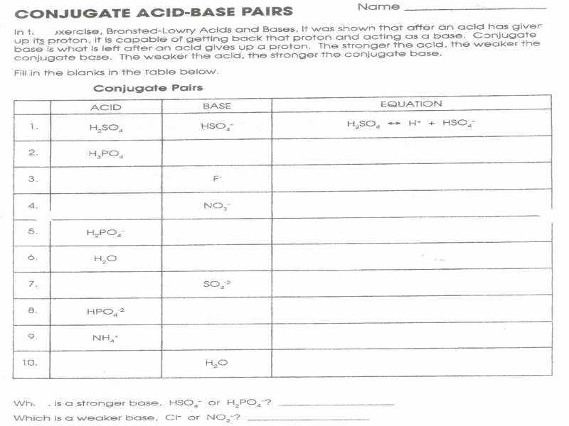 Acid and Base Worksheet Answers Inspirational Acids and Bases Worksheet Answers