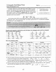 Acid and Base Worksheet Answers Inspirational Chemwkst 19 2 Answers Pdf Conjugate Acid Base Pairs Name
