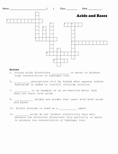 Acid and Base Worksheet Answers Luxury Crossword Puzzle On Acids & Bases by Alanakhoo